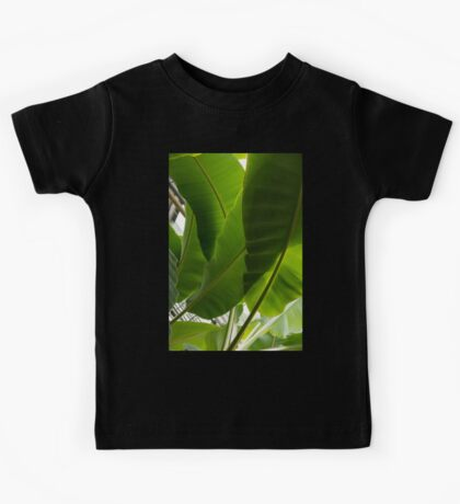 Luscious Tropical Greens - Huge Leaves Patterns - Vertical View Upwards Right  Kids Tee