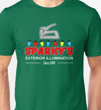Sparky's Exterior Illumination Christmas lights Unisex T-Shirt