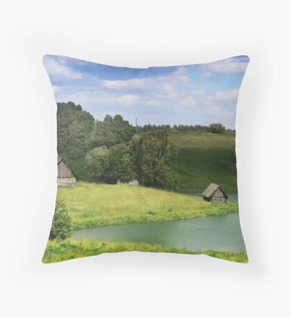 The old village by a lake in Lithuania Throw Pillow