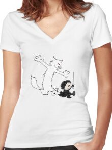 Ghost and Snow Women's Fitted V-Neck T-Shirt